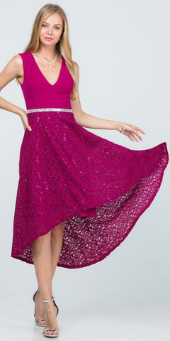 Red A-Line Long Formal Dress Embellished Waist