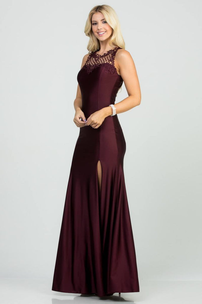 Dark Burgundy Long Prom Gown Cut-Out Back with Slit