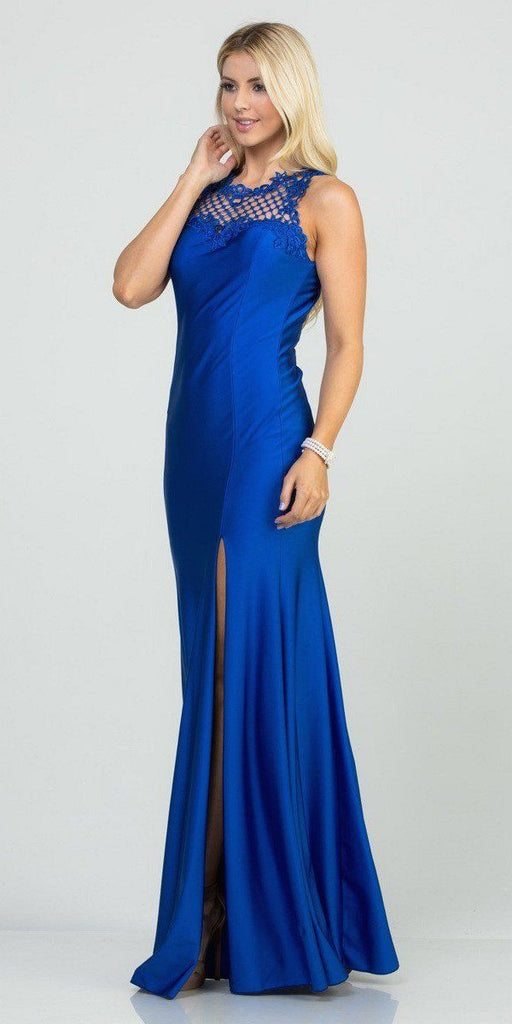 Royal Blue Long Prom Gown Cut-Out Back with Slit