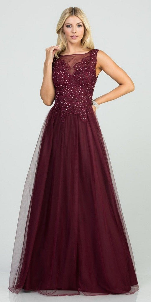 Burgundy Appliqued Long Prom Dress Sleeveless