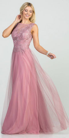 Mauve Appliqued Long Prom Dress Sleeveless