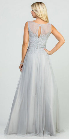 Silver Appliqued Long Prom Dress Sleeveless