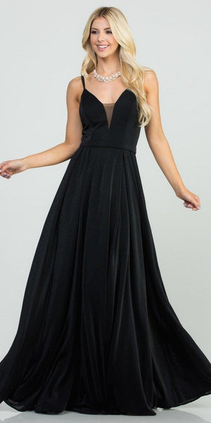 Black Long Prom Dress with Double Spaghetti Strap