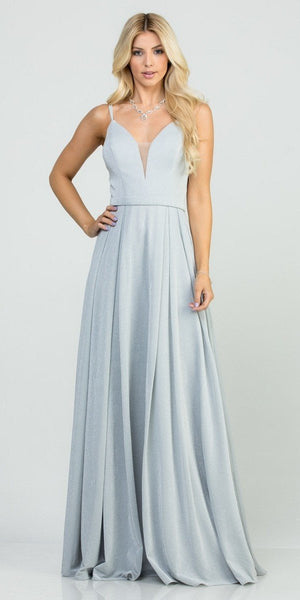 Silver Long Prom Dress with Double Spaghetti Strap