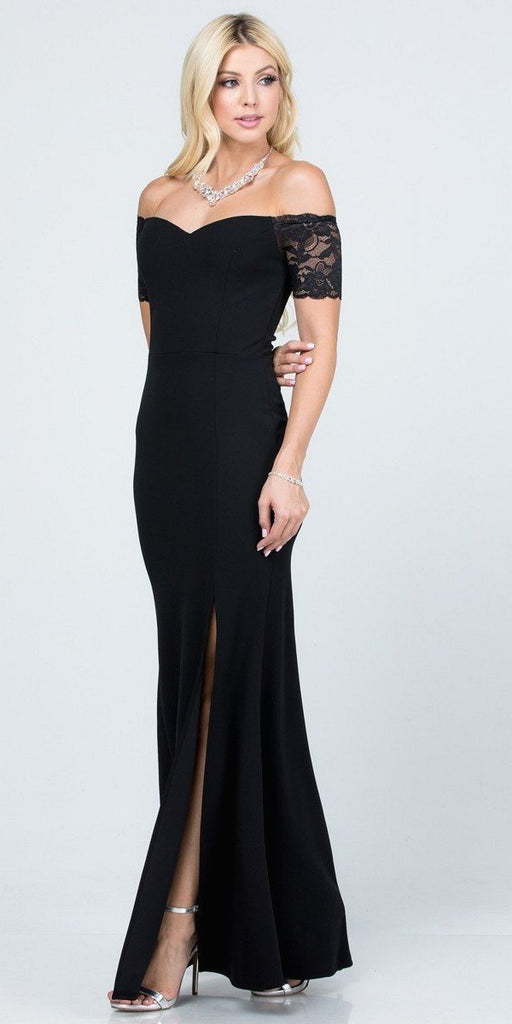 La Scala 25612 Long Mermaid Black Dress Off Shoulder Lace Sleeve