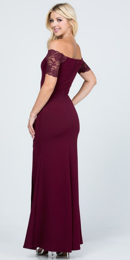 La Scala 25612 Long Mermaid Burgundy Dress Off Shoulder Lace Sleeve