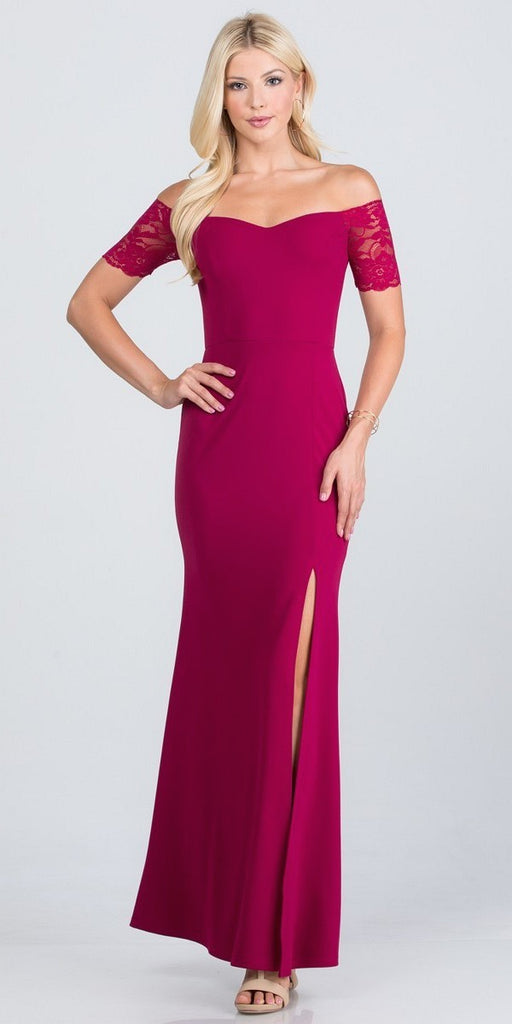 La Scala 25612 Long Mermaid Fuchsia Dress Off Shoulder Lace Sleeve