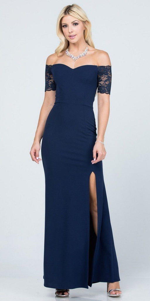 La Scala 25612 Long Mermaid Navy Blue Dress Off Shoulder Lace Sleeve