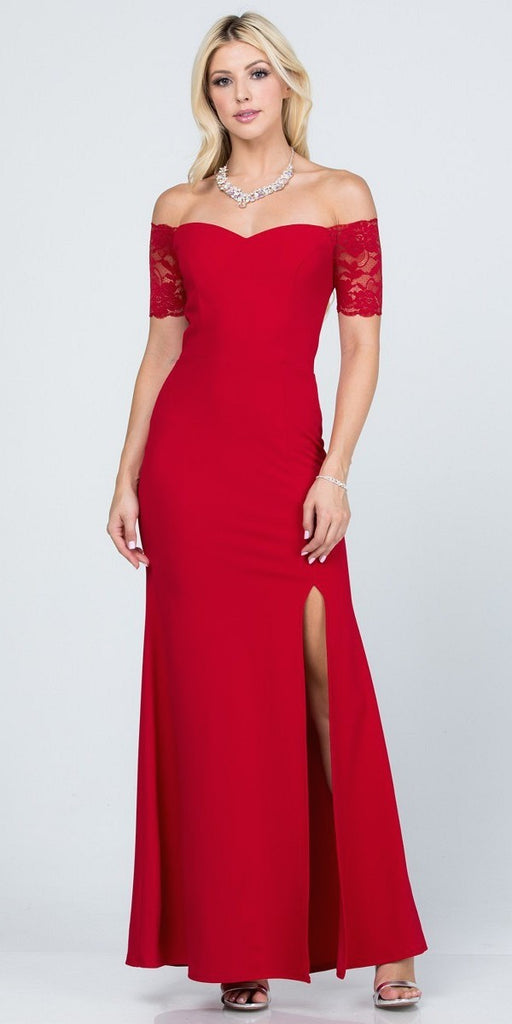 La Scala 25612 Long Mermaid Red Dress Off Shoulder Lace Sleeve