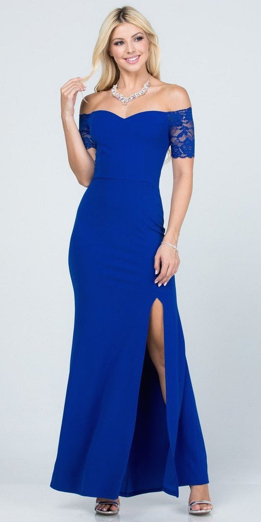 La Scala 25612 Long Mermaid Royal Blue Dress Off Shoulder Lace Sleeve