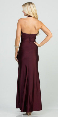 Halter V-Neck Long Formal Dress with Slit Dark Burgundy