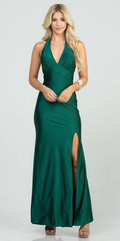Halter V-Neck Long Formal Dress with Slit Hunter Green