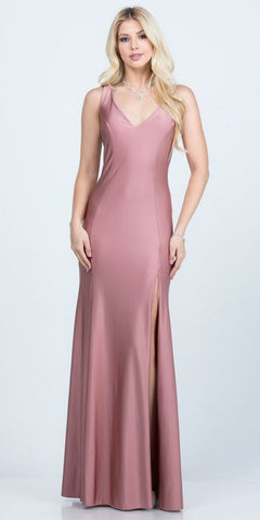 Long Prom Dress V-Neck Cut-Out Back Ash Rose with Slit