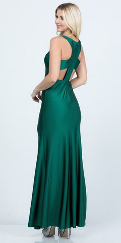 Long Prom Dress V-Neck Cut-Out Back Hunter Green with Slit