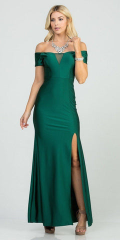 Hunter Green Off-Shoulder Long Formal Dress with Slit