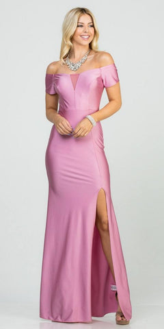Orchid Off-Shoulder Long Formal Dress with Slit