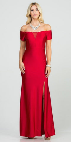 Red Off-Shoulder Long Formal Dress with Slit