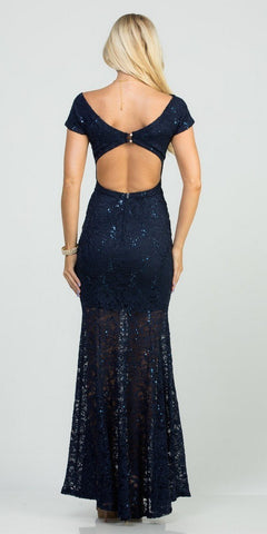 Cut-Out Back Short Sleeved Long Formal Dress Navy Blue