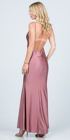 Open-Back Shimmering Mermaid Long Prom Dress Ash Rose