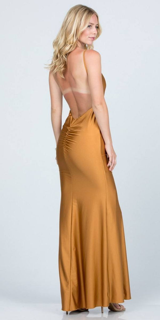 Open-Back Shimmering Mermaid Long Prom Dress Gold