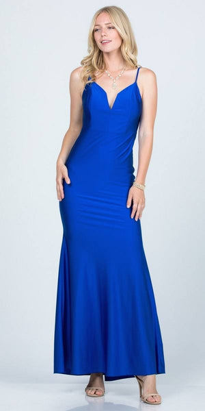Open-Back Shimmering Mermaid Long Prom Dress Royal Blue