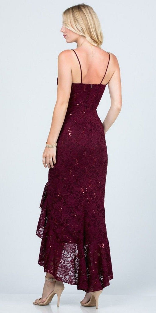 Burgundy High and Low Wedding Guest Dress with Ruffles