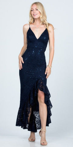 Satin Long A-Line Gown Navy Blue Leg Slit Criss Cross Back