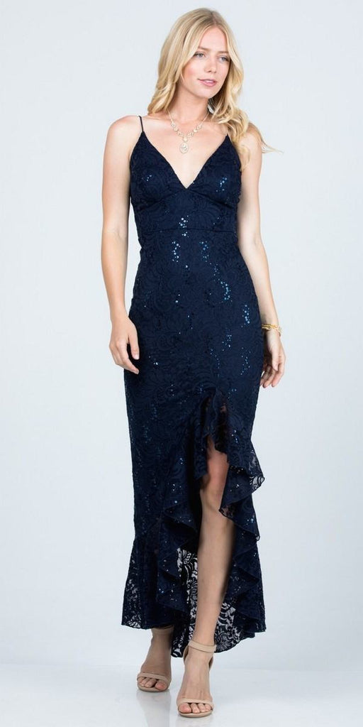 Navy Blue High and Low Wedding Guest Dress with Ruffles