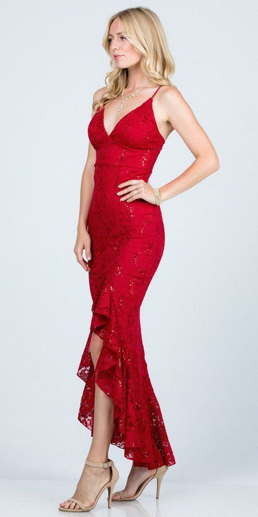 Red High and Low Wedding Guest Dress with Ruffles