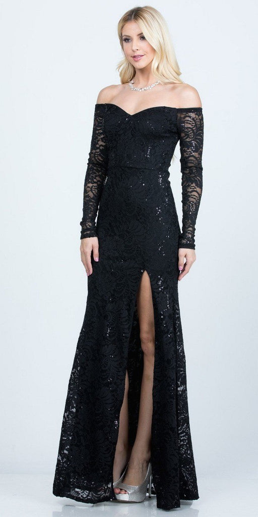 Long Sleeved Off-Shoulder Long Prom Dress with Slit Black