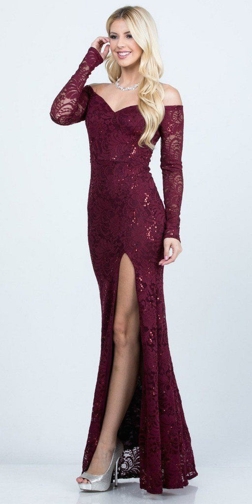 La Scala 25641 Long Sleeved Off-Shoulder Long Prom Dress with Slit Burgundy