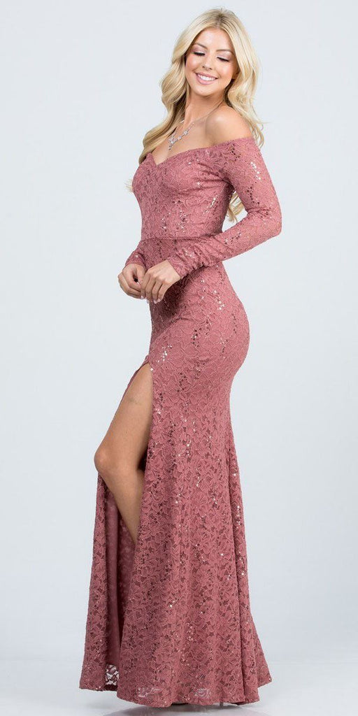 La Scala 25641 Long Sleeved Off-Shoulder Long Prom Dress with Slit Dark Mauve