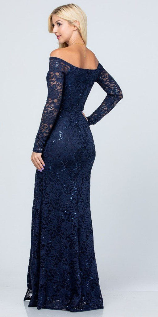 La Scala 25641 Long Sleeved Off-Shoulder Long Prom Dress with Slit Navy Blue