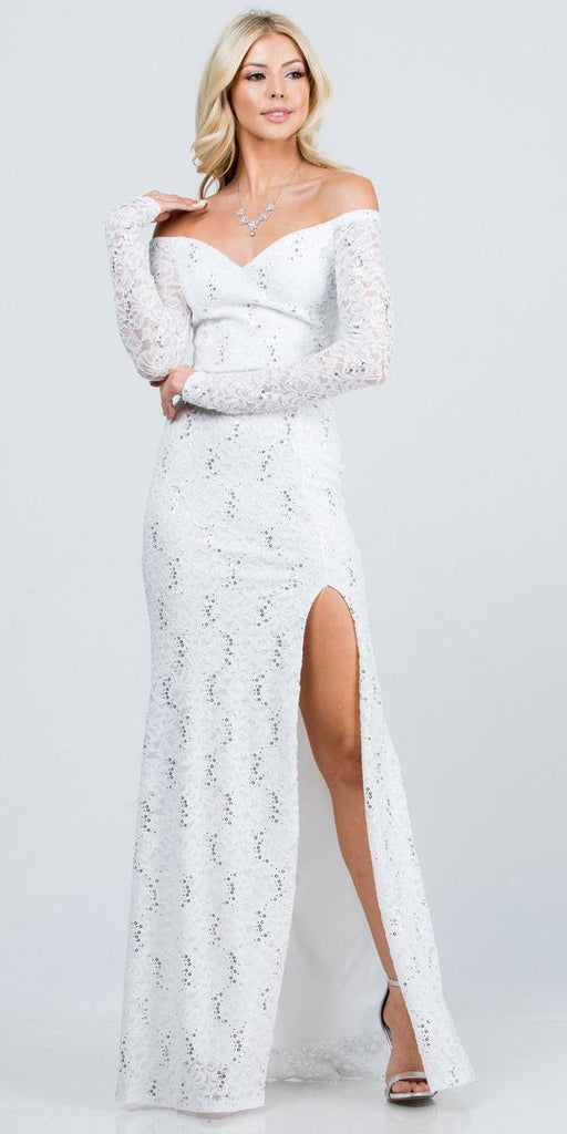 La Scala 25641 Long Sleeved Off-Shoulder Long Prom Dress with Slit Off White