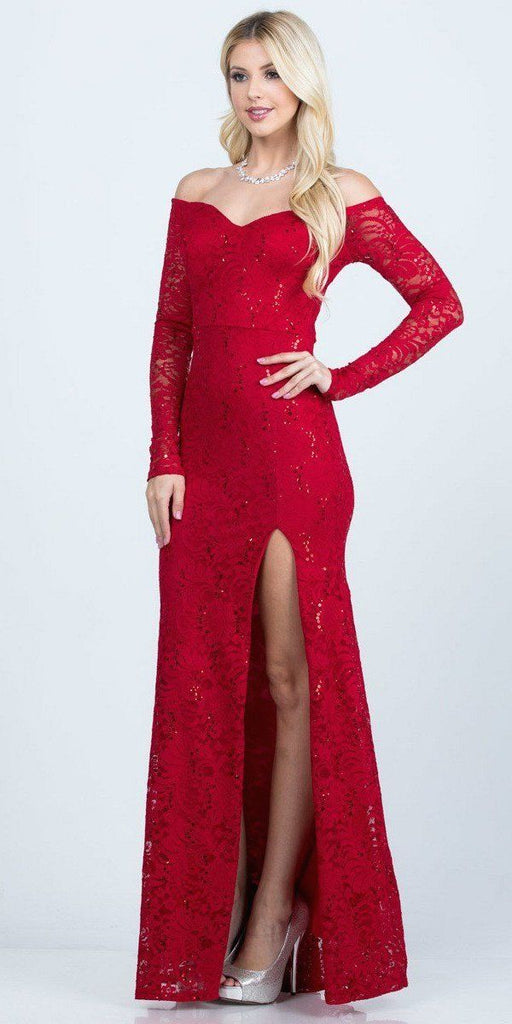 Long Sleeved Off-Shoulder Long Prom Dress with Slit Red