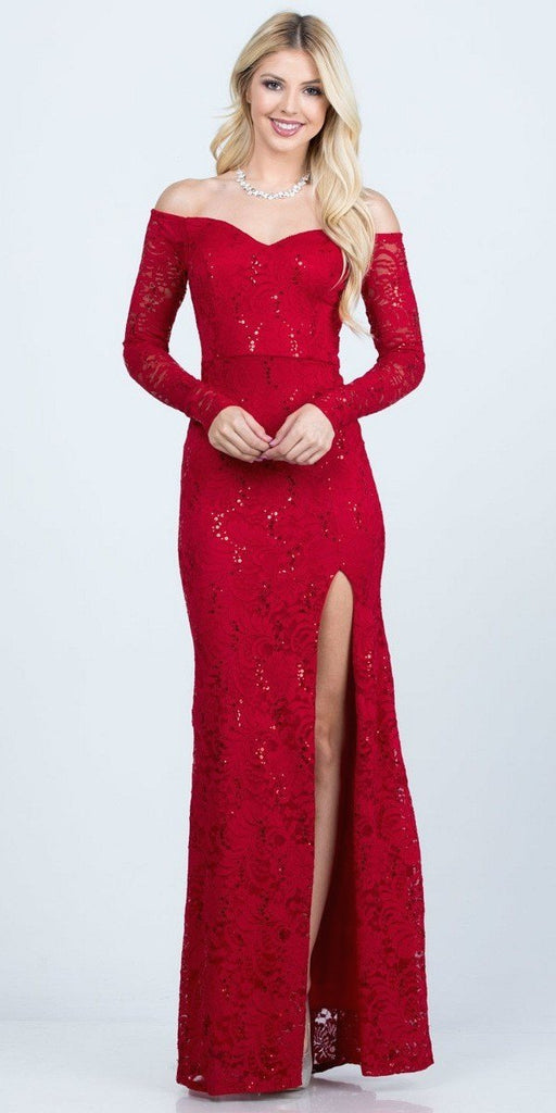La Scala 25641 Long Sleeved Off-Shoulder Long Prom Dress with Slit Red