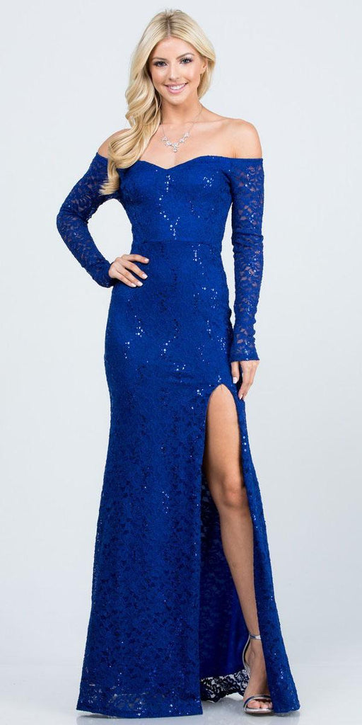La Scala 25641 Long Sleeved Off-Shoulder Long Prom Dress with Slit Royal Blue