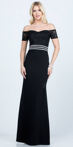 Black Long Formal Dress with Double Spaghetti Straps