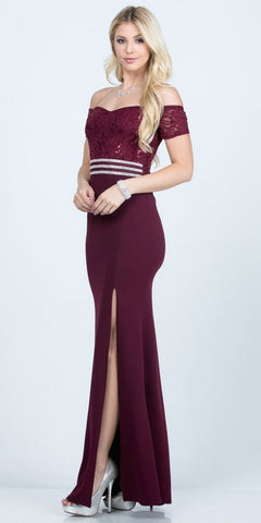 Full Length Off the Shoulder Eggplant  Lace and Crepe Dress With Slit