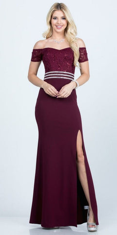 Off the Shoulder Burgundy Formal Dress Floor Length Lace Bodice