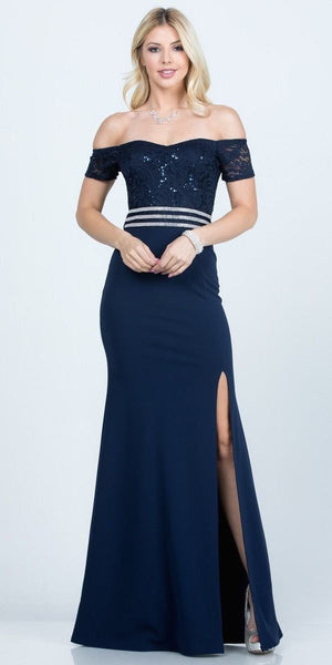 Full Length Off the Shoulder Navy Blue Lace and Crepe Dress With Slit