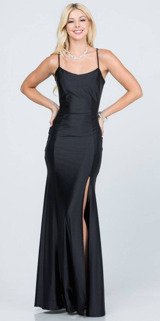 Lace Cut-Out Back Long Formal Dress with Slit Black