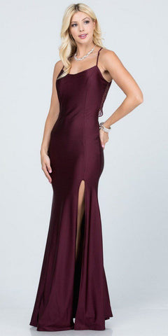 Lace Cut-Out Back Long Formal Dress with Slit Dark Burgundy