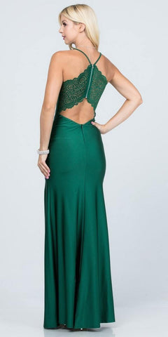 Lace Cut-Out Back Long Formal Dress with Slit Hunter Green