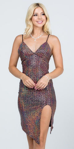 Rose Gold Fitted Metallic Cocktail Dress Open-Back