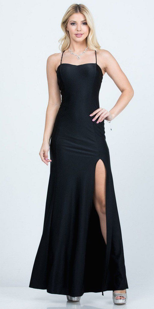 Black Long Shimmering Prom Dress Lace-Up Back with Slit