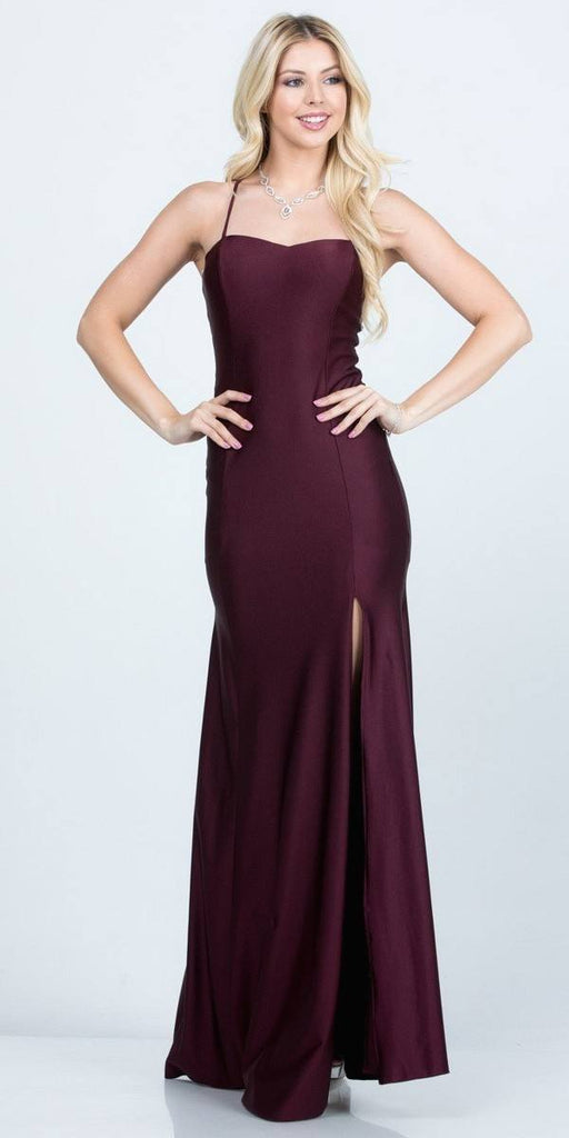 Burgundy Long Shimmering Prom Dress Lace-Up Back with Slit