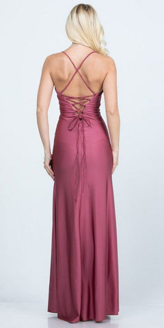 Mauve Long Shimmering Prom Dress Lace-Up Back with Slit