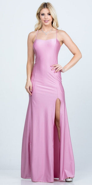 Orchid Long Shimmering Prom Dress Lace-Up Back with Slit