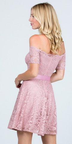 Blush Homecoming Short Dress Off-Shoulder with Ribbon Belt